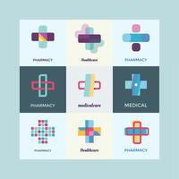 Conjunto de elementos de diseño de logotipo de atención médica