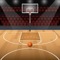 Basketball Court With Basketball Vector Illustration
