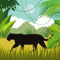 Svart Panther In Jungle Vector