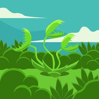Venus Fly Trap Flat Vector Illustration