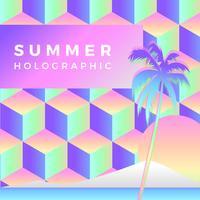 Vector de plantilla holográfica de verano