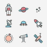Outlined Cosmos Icons vector