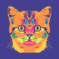 Vector Pop Art Portret Van Een Kat Illustratie