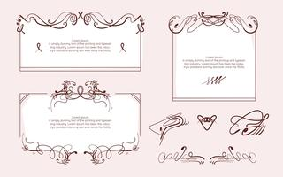 Art Nouveau Background Frame Elements Decoration Vector