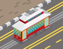 New Orleans Streetcar Isometric Illustration