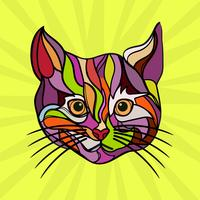 Flat Cat Pop Art Vector Illustration