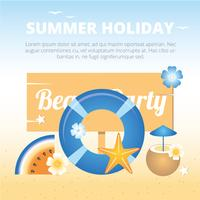 Vector Beach Party Greeting Card