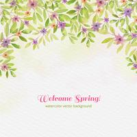 Vector Watercolor Welcome Spring Background