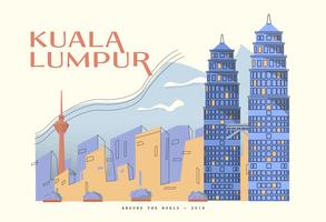 Torre gemela de Petronas en la ilustración del vector de la postal de Kuala Lumpur