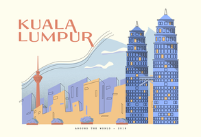 Petronas-Twin-Turm an Kuala Lumpur-Postkarten-Vektor-Illustration