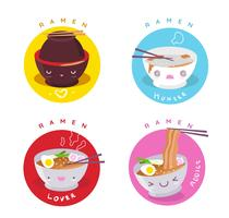 Cute Character Ramen Lover Badge Vector