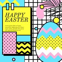 Happy Easter Greeting Memphis Style Vector