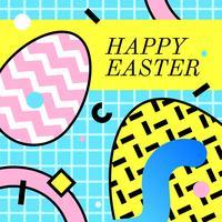 Feliz Pascua Saludo Memphis Vector