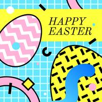 Feliz Easter Greeting Memphis Vector
