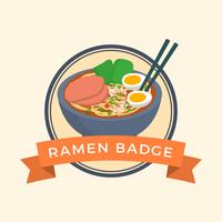 Flat Ramen Badge Vector Illustration