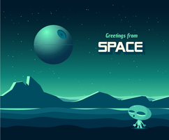 Greetings From Space Vector Post Card