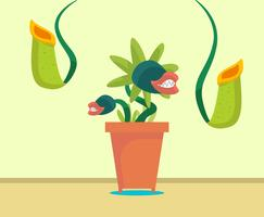 Fly Trapper Plant Vector