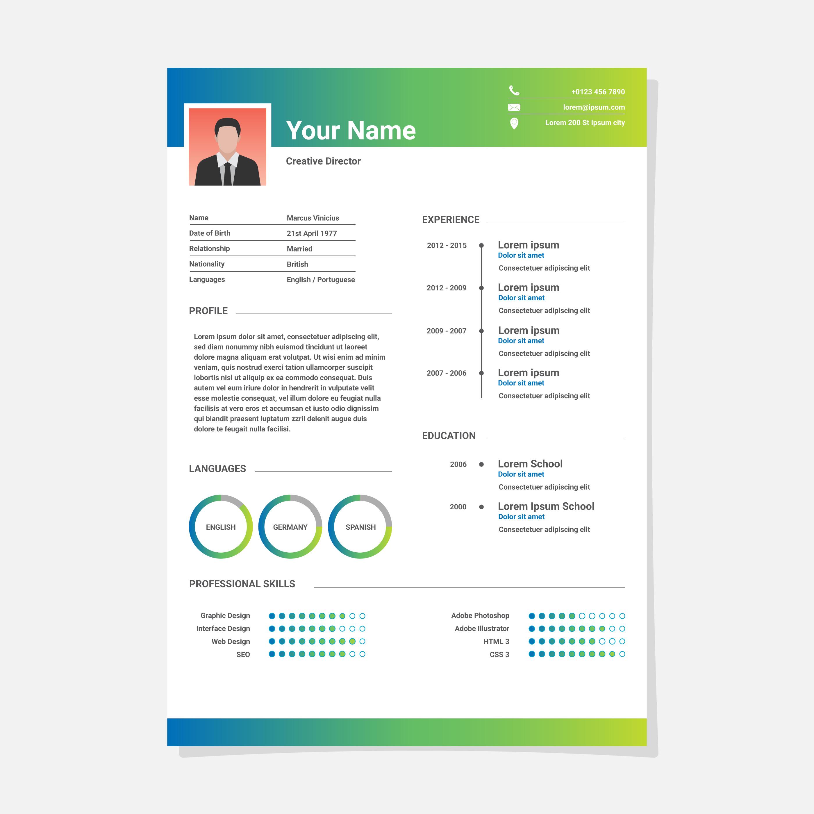 Reanudar la plantilla CV minimalista - Descargue Gráficos y Vectores ...