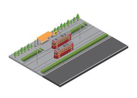 New Orleans Street Car Isometric Vector