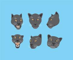 Svart Panther Heads Vector