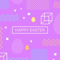 Frohe Ostern Memphis Style Vector Hintergrund