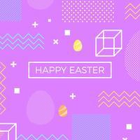 feliz Pascua memphis estilo Vector de fondo