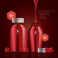 Cranberries Extract Cosmetic Advertising Template vector