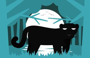 Svart Panther Flat Illustration Landskap Vector