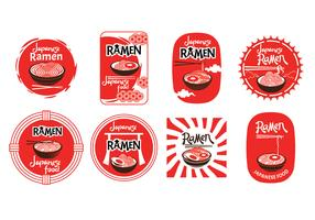 Set av japanska ramen badge illustration isolerad i vit bakgrund