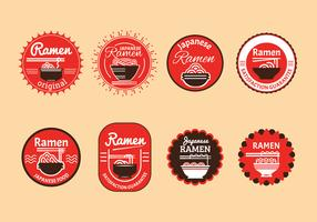 Set of Japanese ramen badge illustration in brown background