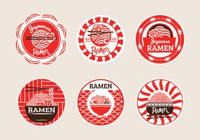 Set av japanska Ramen Badge Illustration i gul bakgrund