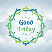 Couronne d'épines bon vendredi sur l'illustration de fond de nuage