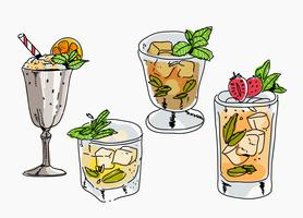 Fresh Mint Julep Hand Drawn Vector Illustration