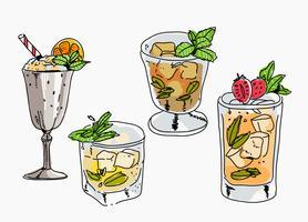 Ilustración de Vector dibujado a mano Fresh Mint Julep