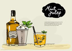 Färsk Mint Julep Hand Drawn Vector Illustration