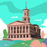 Nashville Capitol Building Landmark Vector Illustration