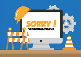 Computer With Under Construction Sign vector