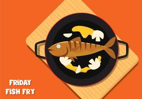 Fish Frying On Pan vector