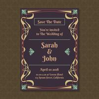 Invitation Cards With Art Nouveau Ornament Template