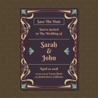Cartes d'invitation avec modèle d'ornement Art Nouveau
