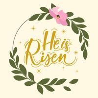 Hij is Risen Hand Lettering Vector