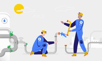 Plumber Fix Pipe For Clean Water Vector Illustration
