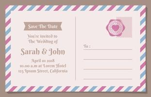 Vintage Postcard Save The Date Background For Wedding Invitation vector