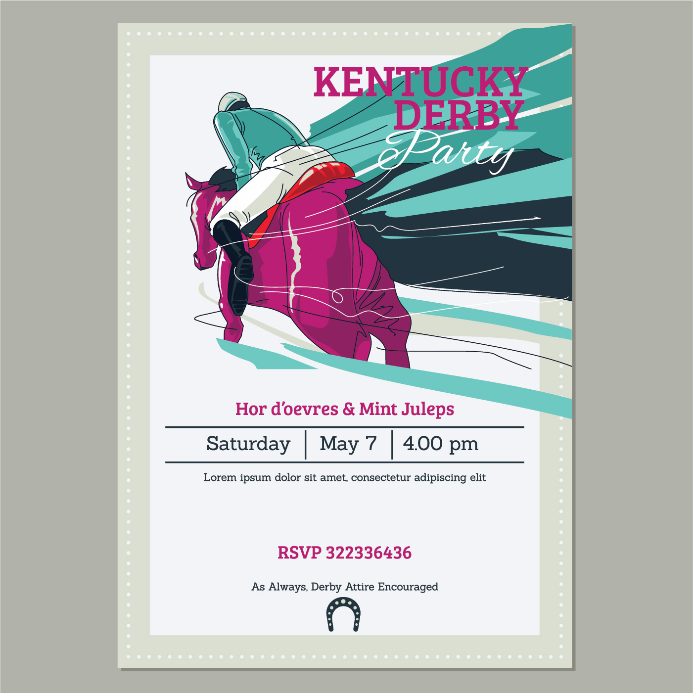 Kentucky Derby Party invitation Template with Running Racing