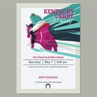 Plantilla de invitación de Kentucky Derby Party con Running Racing Fondo de pura sangre de caballo