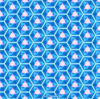 Bright Blue Seamless Kaleidoscope Pattern Vector