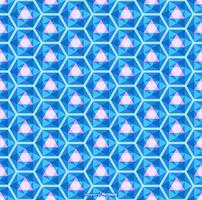 Vetor de padrão de caleidoscópio sem emenda azul brilhante