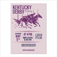 Kentucky derby Party Invitation Minimalism Style with Mirror and Glass Effect