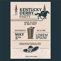 Kentucky derby Party Invitation Classic Style with Geometroc Pattern Background