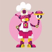 Linda mujer robot cocinera